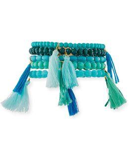 Beaded Tasseled Stretch Bracelets