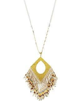 Long Beaded Fringe Pendant Necklace
