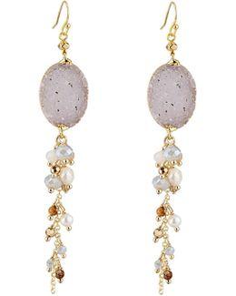 Long Beaded Druzy Dangle Earrings
