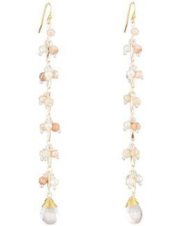 Long Beaded Link Dangle Earrings
