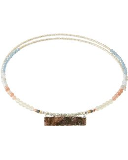 Beaded Choker Wrap Necklace W/ Druzy Pendant