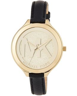 42mm Slim Runway Watch W/ Leather Strap