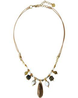 Beaded Labradorite Pendant Necklace