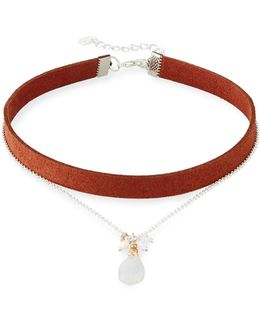Double-strand Suede & Moonstone Choker Necklace