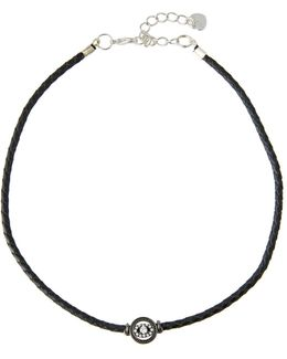 Braided Leather Evil Eye Choker