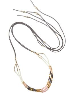 Long Beaded Leather & Crystal Wrap Necklace