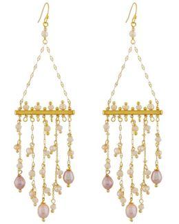 Freshwater Pearl & Crystal Fringe Earrings