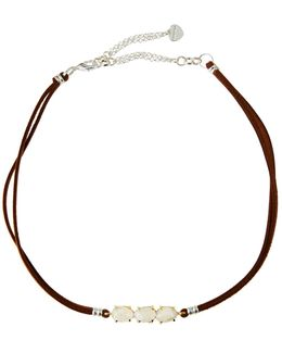 Braided Leather & Moonstone Choker