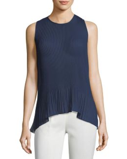 Solid Pleated Chiffon Top