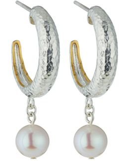 Spell Small Tapered Hoops W/ Freshwater Pearl Drops