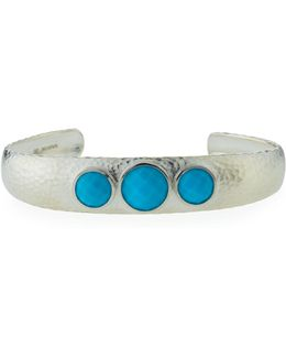 Galapagos Wide Sterling Cuff W/ Turquoise Bezels