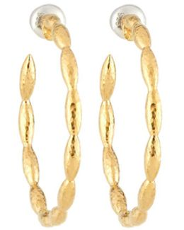Large Vermeil Wheat Hoop Earrings