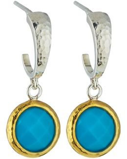 Galapagos Small Hoops W/ Round Turquoise Drops