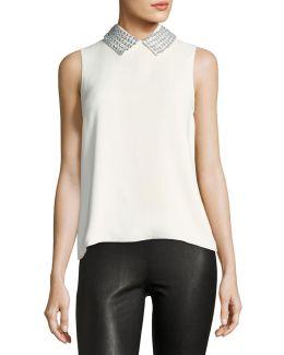 Embellished-collar Sleeveless Top