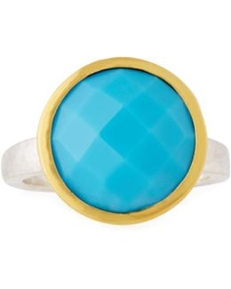 Galapagos Large Round Checkerboard-cut Turquoise Ring