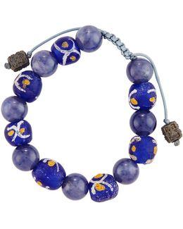 African & Iolite Beaded Bracelet