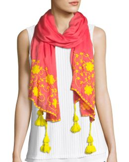 Floral-stitching Tasseled Scarf