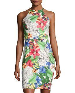 Floral-print Scuba Sheath Dress