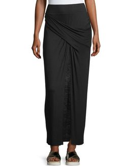 Faux-wrap Twist-front Jersey Skirt