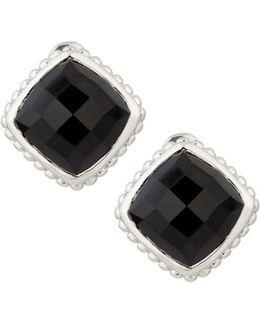 Cushion-cut Black Onyx Button Earrings