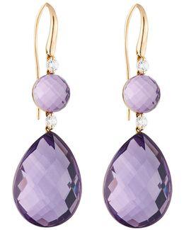 18k Rose Gold Amethyst & Diamond Double-drop Earrings
