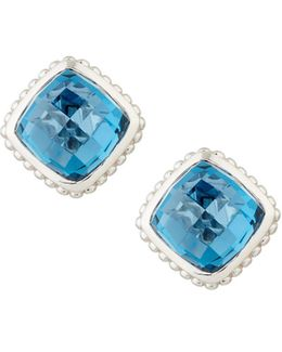 Cushion-cut Indigo Spinel Button Earrings