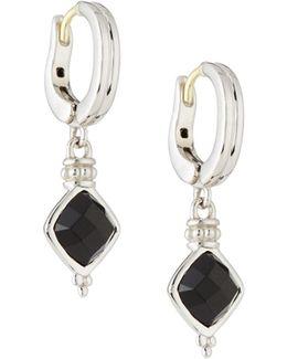 Cushion-cut Black Onyx Drop Earrings