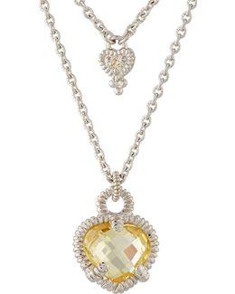 La Petite Diamond & Crystal Heart Double-strand Necklace