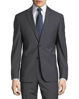 Plain Two-button Wool-blend Suit