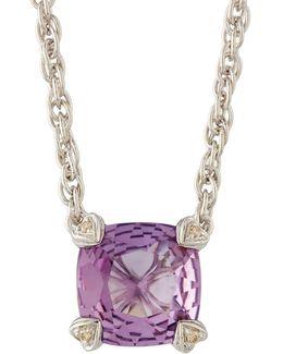 Cushion-cut Amethyst & Diamond Pendant Necklace