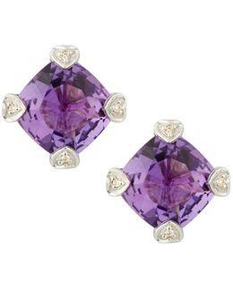 Cushion-cut Amethyst & Diamond Stud Earrings