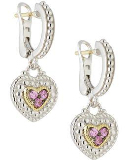 Pave Pink Sapphire Heart Drop Earrings