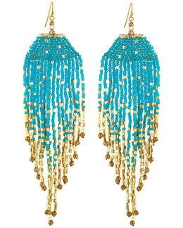 Long Beaded Fringe Drop Earrings