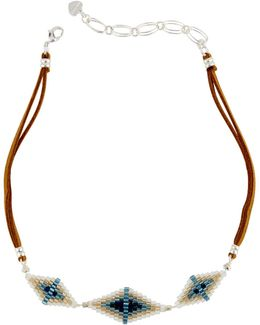 Geometric Beaded Leather Choker