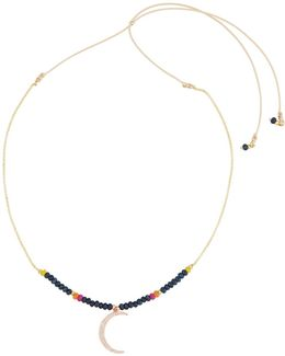 Long Beaded Moon Y-drop Necklace
