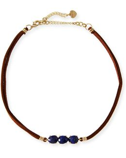 Braided Leather & Lapis Choker