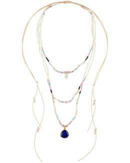 Long Multi-row Adjustable Beaded Necklace
