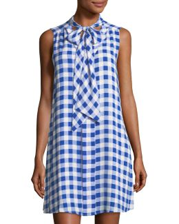 Garden Check Neck-tie Dress