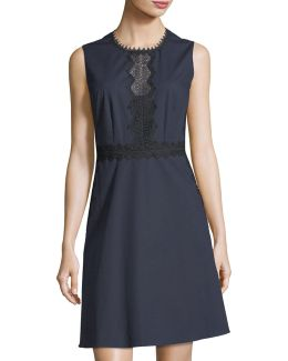 Lace-inset A-line Dress