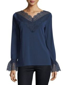 Lace-trim Knit Top