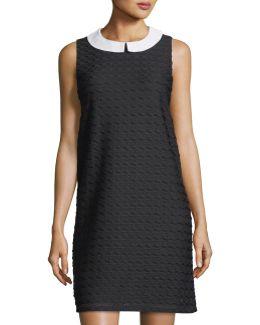 Collared Sleeveless Wavy Stripe Dress