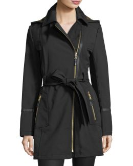 Hooded Zip-front Soft-shell Trenchcoat