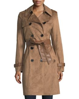 Double-breasted Faux-suede Trenchcoat