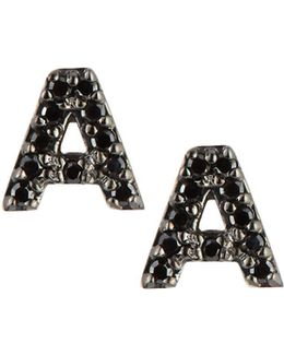 14k White Gold & Black Diamond Initial Single Stud Earring