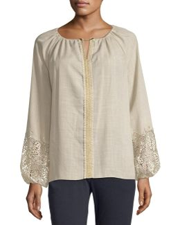 Lace-cuff Long-sleeve Blouse