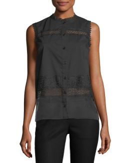 Zeena Button-front Sleeveless Lace Blouse