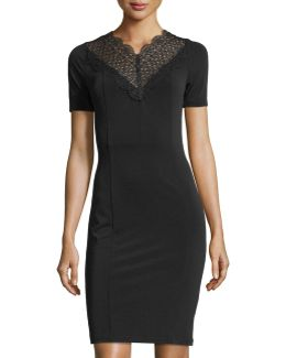 Lila Lace Neck Short-sleeve Fitted Dress