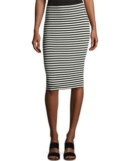 Striped Pull-on Midi Pencil Skirt