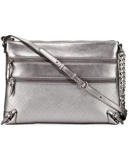 Mari Metallic Leather Shoulder Bag
