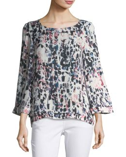 Graphic-print Bell-sleeve Blouse